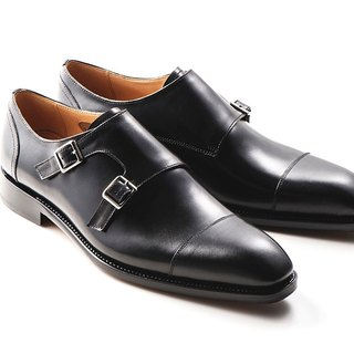 Black three-button double buckle Moci shoes Goodyear suture handmade