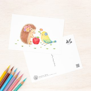 "4 pieces set. Like a picture book. Postcard ""Friendly Hornet and Bird"" PC-398"