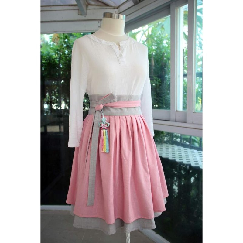 Handmade by Cherry Everyday Hanbok Life Hanbok - Double Design Pink / Gray Two-Handed Belt Hanbok Skirt Bicolor Plain-color High Waist Skirt Sakura Color