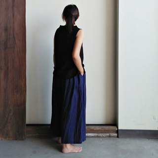 Linen wide pants, linen, dark blue