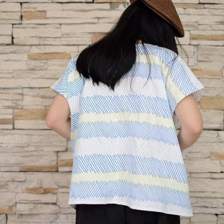 Japanese-style square clothing summer blue very cool handmade custom-made shirt