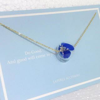 Glass Ball P Preserved Flower Navy Blue  Necklace Birthday Gift Bridesmaid Gift Bestie