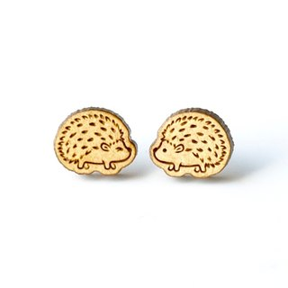 Plain wood earrings-Hedgehog