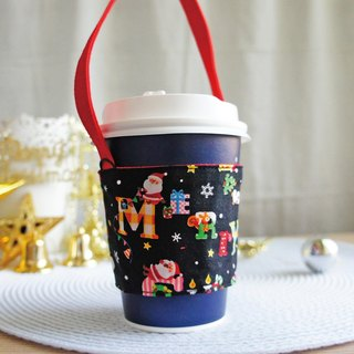 Lovely [Japanese cloth] Merry Christmas Santa drink cup bag, bag, cup set