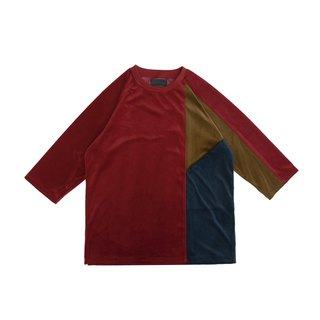 Velvet three-color cut-out cropped sleeve T-shirt