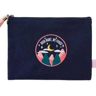 A. Strawberry Sleeping Forest Embroidered Makeup Bag - Dark Blue