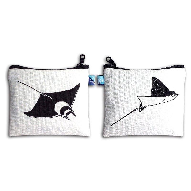設計款JMR149 - 【雪花鴨嘴 X 日本蝠魟】雙面魟魚零錢包