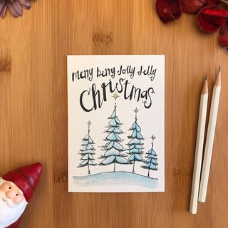 MERRY BERRY TREES Christmas card hand-painted illustration of environmentally friendly paper imported cards C074 UK