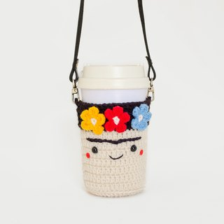 Crochet Cozy Cup - Frida Kahlo No.1 / Coffee Sleeve, Starbuck.