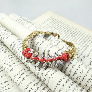 "Round Di ""memory agreement"" gold wheat leather rope around the bracelet (R red) hand-painted brass"