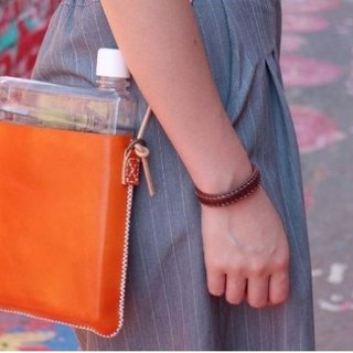 Make Your Choicesss orange text green leather hand bags Memo Bottle