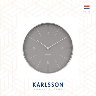 Karlsson, Wall clock Normann numbers warm grey, brushed case