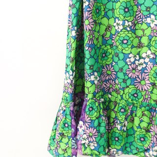 Retro European Garden Floral 70s Green Flower Vintage Dress European Vintage Skirt