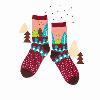 Path Burgundy Unisex Crew Socks | mens socks | womens socks | comfortable socks