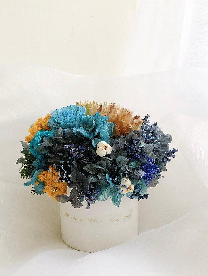 永生花 永生玫瑰 療癒小盆栽 乾燥花盆栽 藍灰色 婚禮小物 交換禮