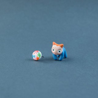 Chucky Cat - Polymer Clay Earrings, Handmade&Handpaited Catlover Gift