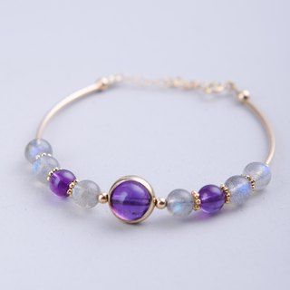 Uruguay Amethyst, Labradorite 14K Gold Filled Natural Gemstone Crystal Bracelet