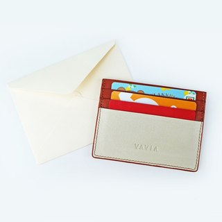 """Cha-Yen"" Cow Leather Card Holder (White&Red Brown Trim)"