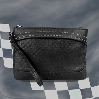 Free shipping I AM- Clutch - Black with leather