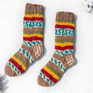 Hand-woven wool knit socks / striped socks / wool crocheted stockings / warm socks - Mexican desert color