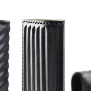 PIPILALA Leather Design Three-dimensional leather business card holder - classic horizontal stripes (classic black)