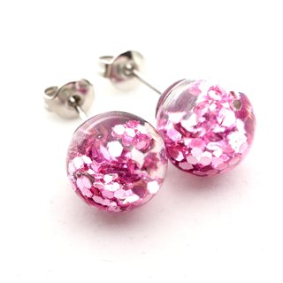 「愛家作- OMYWAY」DIY 飄浮 水  玻璃球 耳針 耳環 耳勾 垂掛 耳夾 Water - Glass Globe- Earrings- Drop Earrings - Drop Clip on Earrings - Clip Earrings