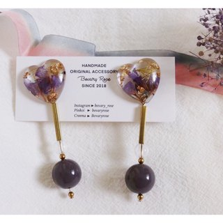 Love Gold Foil Purple Fantasy Silver Earrings Earrings