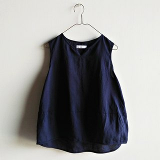 Small V micro sensation stitching vest ramie dark blue