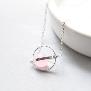 幸福星球。宇宙。銀環。粉玉髓。 項鍊 Blessed Planet。Galaxy。Sliver Ring。Pink Chalcedony。Necklace