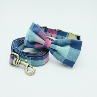 Bowtie Collar with Leash - Plaid Collection Red / Green.