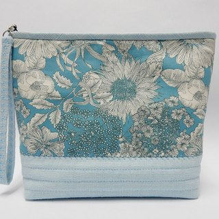 Water blue printed of lined with resin cotton cosmetic bag / Multifunction bag / Handbag