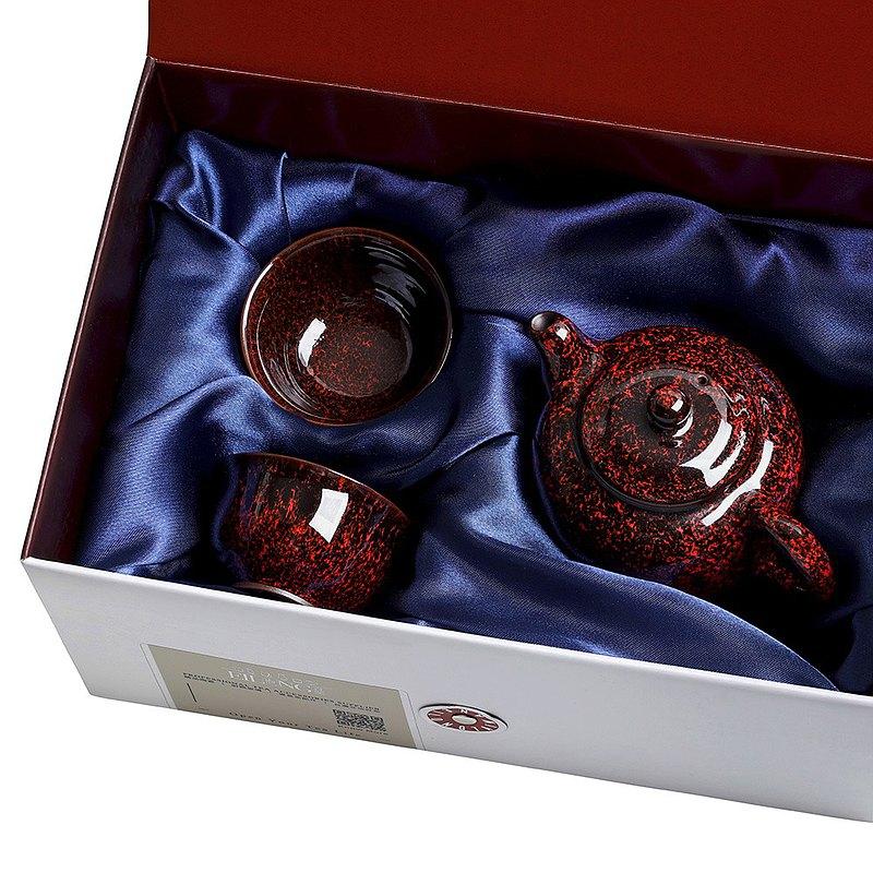 紅-繁星天目3入禮盒(壺+2杯)