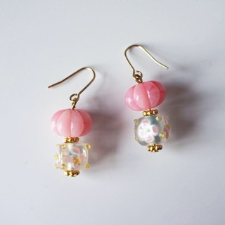 Pink Pumpkin and Square Beads Earrings