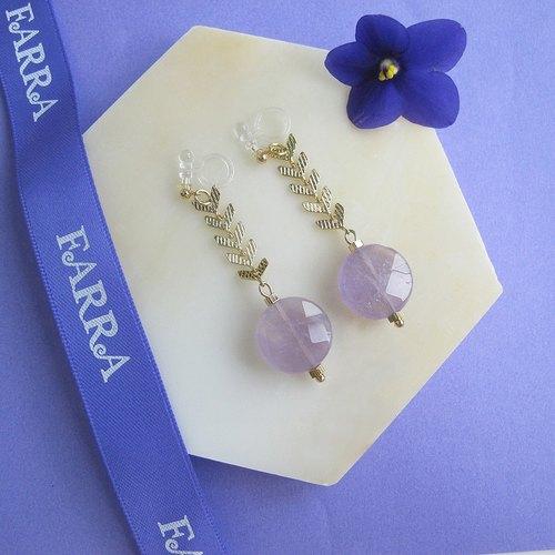 紫水晶夾式耳環 天然寶石無須耳洞 禮物 2月誕生石