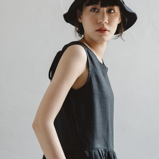 Linen Camisole dress with open back in Black