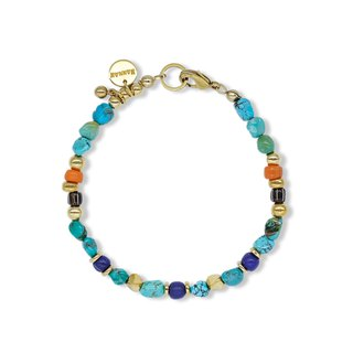 String series brass turquoise glass bracelet ore crystal