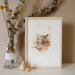 Custom Pet Flower Hand Painted Watercolor Illustration - A4 Hairy Boy (Half Included Frame)