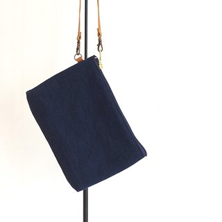Kurashiki canvas clutch bag Midnight blue