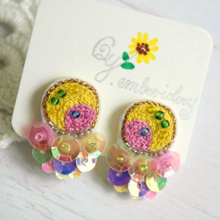 Qy.embroidery Candy Contrast Colorful Embroidered Handmade Ear Stud Ear Clips Round Yellow and Pink