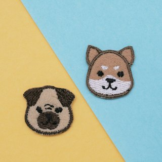 Shiba&Pug Dog Set Iron Patch (set of 2)