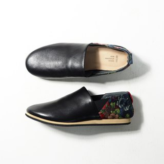 Love flower light shoes - black leather classic cloth for women