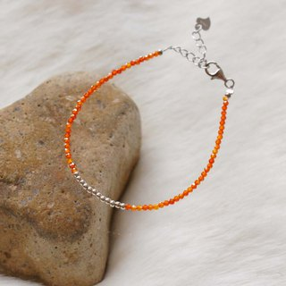 Orange Zircon 925 Silver Bracelet with Linear Memory Alloy