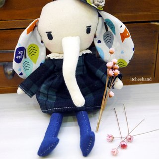 Handmade Elephant Doll- Cute Elly with Western-style hat
