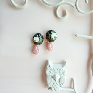 Songhuakou Series Qinghai Qinghai & Pink Opal Drops Earrings Pre-order