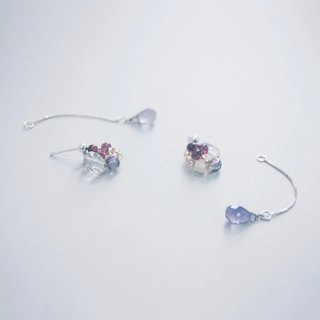 2-way Opal Cordierite Crystal Gemstone 925 Silver Earrings