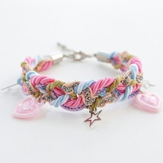 Pastel pink bracelet with heart and star