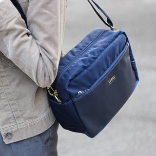 [Limited Time Offer] Kayton blue leather texture water repellent nylon side backpack dual camera bag