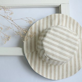 Mary Wil handsome big hat hat - khaki stripes