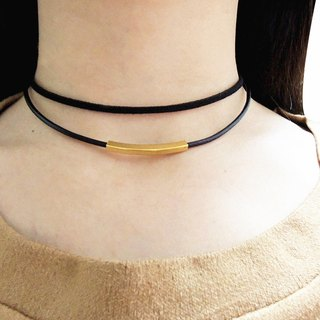 Double Choker , Leather Necklace , Brass