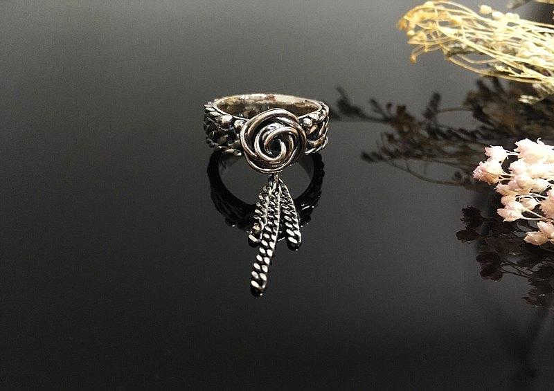 純銀戒指 古典風手編玫瑰